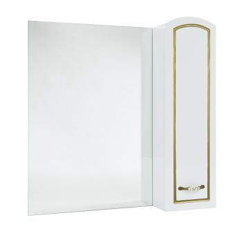 Зеркало-шкаф Амелия 80 R белое, патина золото