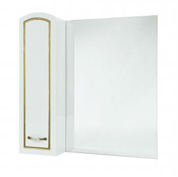 Зеркало-шкаф Амелия 80 L белое, патина золото