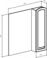 Зеркало-шкаф Амелия 80 R белое