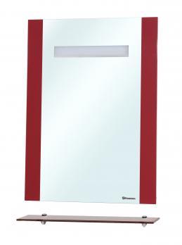 Зеркало Берта 90 красное с полкой и подсветкой